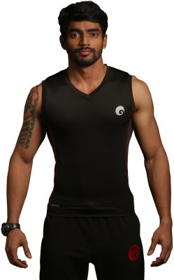 Omtex Ultimate Men Compression T-Shirt(Black, Red Sleeveless)