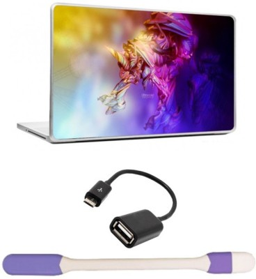 Skin Yard Ultra Violet Unicom Laptop Skins with USB LED Light & OTG Cable - 15.6 Inch Combo Set