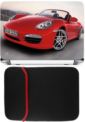FineArts Red Car Laptop Skin with Reversible Laptop Sleeve Combo Set
