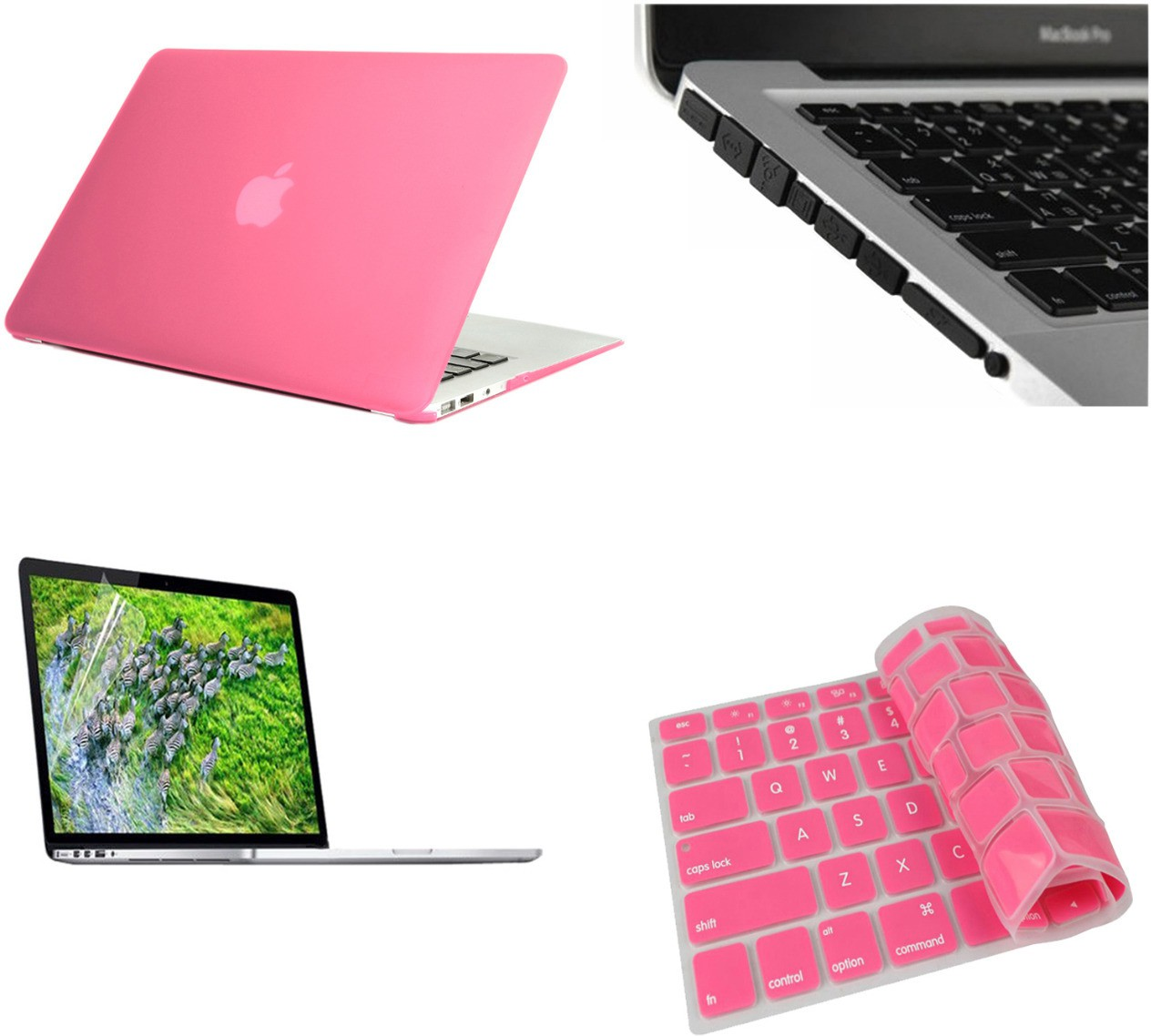 Pindia Pink Matte Finish Apple Macbook Pro 15 15.4 Inch Mb471hn/A Mb471ll/A Hard Case Shell Black Anti Dust Ports Keyboard Skin and Screen Guard Combo Set