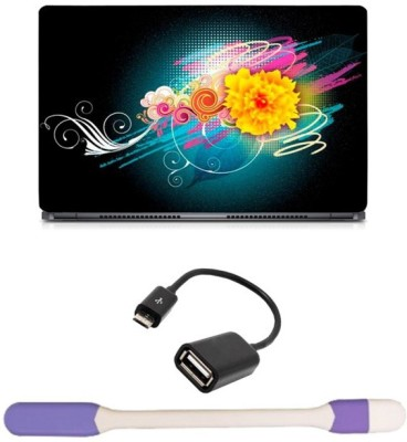Skin Yard Colourful Smoking Effect Laptop Skin with USB LED Light & OTG Cable - 15.6 Inch Combo Set