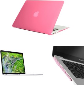 Pindia Pink Matte Finish Apple Macbook Air 13 13.3 A1466 Hard Case Shell Cover Anti Dust Ports Screen Guard Combo Set