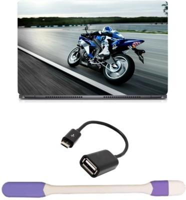 Skin Yard Bike Racing Laptop Skin with USB LED Light & OTG Cable - 15.6 Inch Combo Set