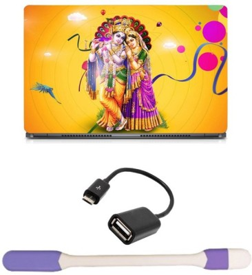 Skin Yard Radha Krishna Yellow Laptop Skin with USB LED Light & OTG Cable - 15.6 Inch Combo Set