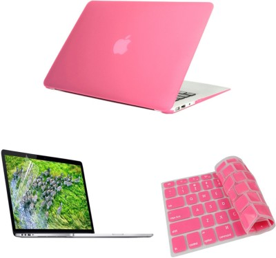 Pindia Pink Matte Finish Apple Retina Macbook Pro 15.4 inch Mc975hn/A Mc975ll/A Hard Case Shell Cover Keyboard Screen Guard Combo Set