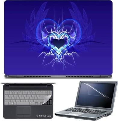 Skin Yard Cool Blue Angel Heart Laptop Skin with Screen Protector & Keyboard Skin -15.6 Inch Combo Set