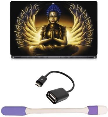 Skin Yard Trippy Buddha Laptop Skin with USB LED Light & OTG Cable - 15.6 Inch Combo Set