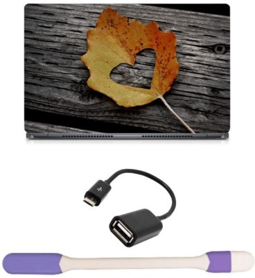 Skin Yard Heart in Leaf Laptop Skin with USB LED Light & OTG Cable - 15.6 Inch Combo Set