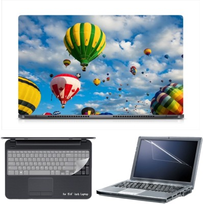 Skin Yard Airballoon in Sky Laptop Skin Decal with Keyguard & Screen Protector -15.6 Inch Combo Set
