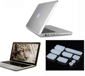 Pindia Transparent Crystal Finish Apple Macbook Pro 13 13.3 inch Md313hn/A Md313ll/A Hard Case Shell Cover Anti Dust Ports Screen Guard Combo Set