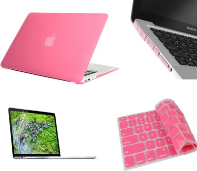 Pindia Pink Matte Finish Apple Retina Macbook Pro 15.4 inch Me294hn/A Me294ll/A Hard Case Shell Cover Anti Dust Ports Keyboard Screen Guard Combo Set