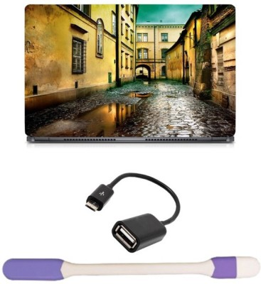 Skin Yard Wet Street Laptop Skin with USB LED Light & OTG Cable - 15.6 Inch Combo Set