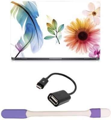 Skin Yard Feather Flower Laptop Skin with USB LED Light & OTG Cable - 15.6 Inch Combo Set