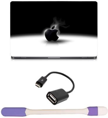 Skin Yard Black Apple Laptop Skin with USB LED Light & OTG Cable - 15.6 Inch Combo Set