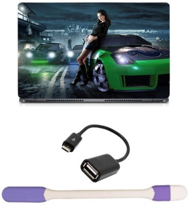 Skin Yard Need For Speed Rivals Green Car Laptop Skin with USB LED Light & OTG Cable - 15.6 Inch Combo Set
