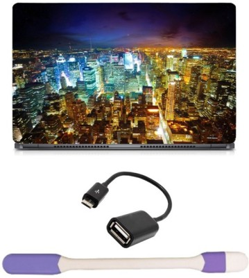 Skin Yard Mexico City Light Laptop Skin with USB LED Light & OTG Cable - 15.6 Inch Combo Set