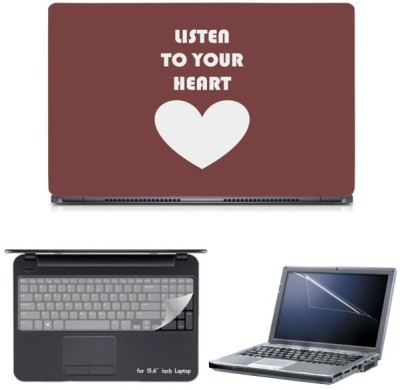 Skin Yard Listen to Your Heart Sparkle Laptop Skin with Screen Protector & Keyguard -15.6 Inch Combo Set