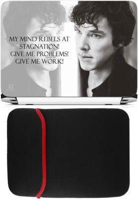 FineArts Sherlock Laptop Skin with Reversible Laptop Sleeve Combo Set