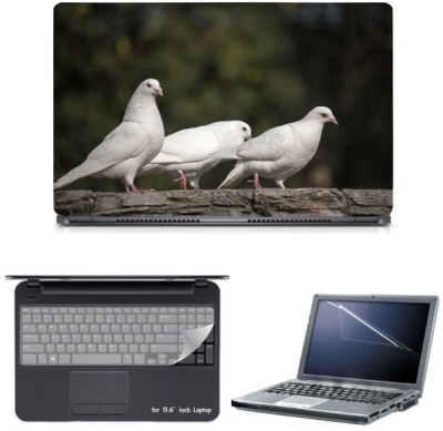Skin Yard White Dove Birds Sparkle Laptop Skin with Screen Protector & Keyguard -15.6 Inch Combo Set
