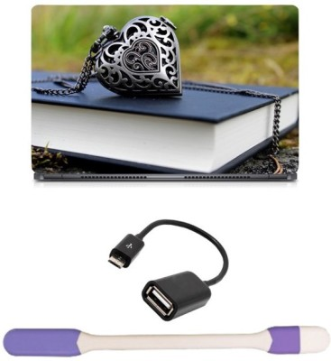 Skin Yard Heart Locket Laptop Skin with USB LED Light & OTG Cable - 15.6 Inch Combo Set