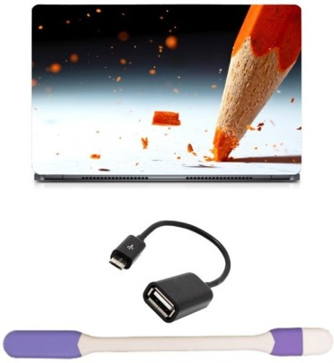 Skin Yard Colour Pencil Point Break Sparkle Laptop Skin with USB LED Light & OTG Cable - 15.6 Inch Combo Set