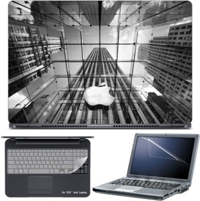 Skin Yard Grey Abstract Apple Building Laptop Skin with Screen Protector & Keyboard Skin -15.6 Inch Combo Set