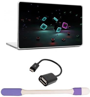 Skin Yard 3D Dark Laptop Skin with USB LED Light & OTG Cable - 15.6 Inch Combo Set