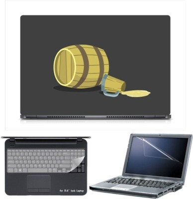 Skin Yard Sparkle Beer Empty Drum Laptop Skin with Screen Protector & Keyboard Skin -15.6 Inch Combo Set