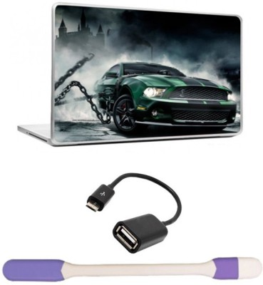 Skin Yard Awesome Green Tech Car Laptop Skins with USB LED Light & OTG Cable - 15.6 Inch Combo Set