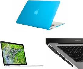 Pindia Aqua Blue Matte Finish Apple Macbook Pro 15, 15.4 Inch Md322hn/A Md322ll/A Hard Case Shell, Black Anti Dust Ports and Screen Guard Combo Set