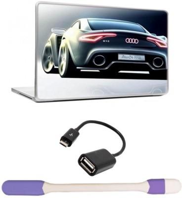 Skin Yard Audi R12 Laptop Skin with USB LED Light & OTG Cable - 15.6 Inch Combo Set
