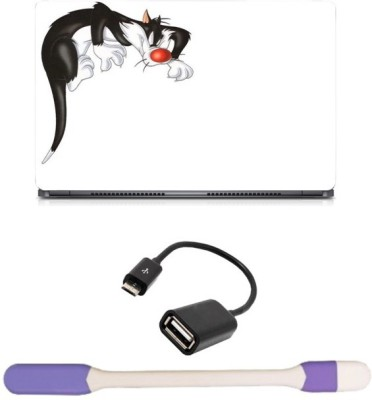 Skin Yard Crazy Cat Laptop Skin with USB LED Light & OTG Cable - 15.6 Inch Combo Set
