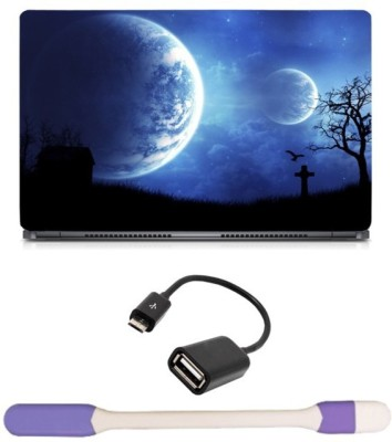 Skin Yard Digital Space Planets Graves Laptop Skin with USB LED Light & OTG Cable - 15.6 Inch Combo Set
