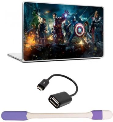 Skin Yard Avengers Laptop Skin with USB LED Light & OTG Cable - 15.6 Inch Combo Set