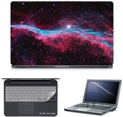 Skin Yard Red Blue Galaxy Stars Laptop Skin with Screen Protector & Keyboard Skin -15.6 Inch Combo Set