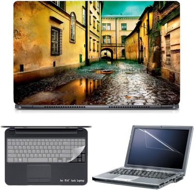 Skin Yard 3in1 Combo- Wet Street Laptop Skin with Screen Protector & Keyguard -15.6 Inch Combo Set