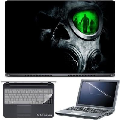 Skin Yard Dark Army Gas Mask Green Eye Laptop Skin with Screen Protector & Keyboard Skin -15.6 Inch Combo Set