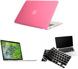 Pindia Pink Matte Finish Apple Retina Macbook Pro 15.4 inch A1398 Hard Case Shell Cover Black Keyboard Screen Guard Combo Set