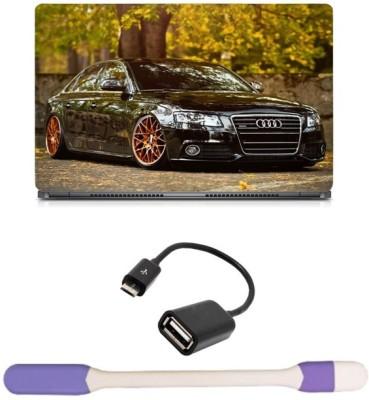 Skin Yard Audi Car Laptop Skin with USB LED Light & OTG Cable - 15.6 Inch Combo Set