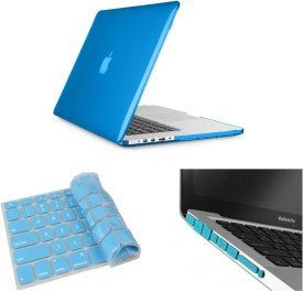 Pindia Aqua Blue Crystal Finish Apple Macbook Pro 13 13.3 inch Md102hn/A Md102ll/A Hard Case Shell Cover Anti Dust Ports Keyboard Combo Set