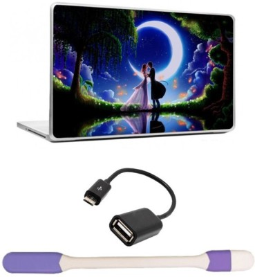 Skin Yard Fantasy Moon Light Kiss Laptop Skins with USB LED Light & OTG Cable - 15.6 Inch Combo Set