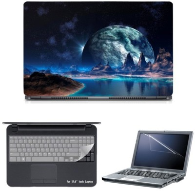 Skin Yard Awesome Space Background Laptop Skin with Screen Protector & Keyguard -15.6 Inch Combo Set