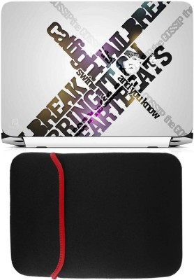 FineArts Catfight Laptop Skin with Reversible Laptop Sleeve Combo Set