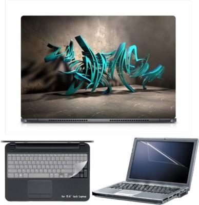 Skin Yard Sparkle 3D Blue Sculpture Graffiti Laptop Skin with Screen Protector & Keyboard Skin -15.6 Inch Combo Set