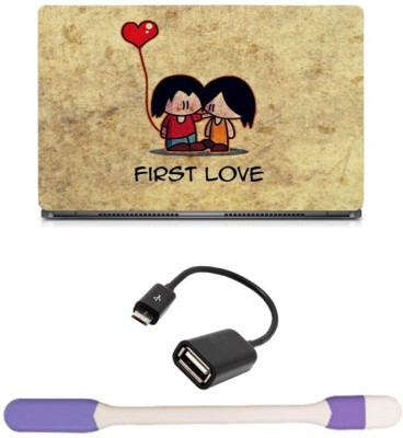 Skin Yard First Love Laptop Skin with USB LED Light & OTG Cable - 15.6 Inch Combo Set