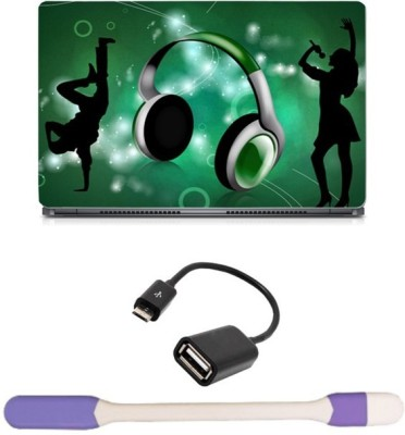 Skin Yard Green Musical Headphone Laptop Skin with USB LED Light & OTG Cable - 15.6 Inch Combo Set
