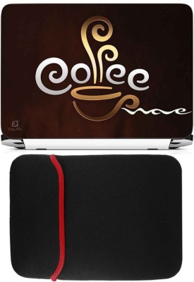 FineArts Coffee Laptop Skin with Reversible Laptop Sleeve Combo Set