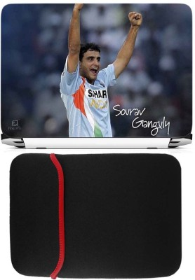 FineArts Ganguly Laptop Skin with Reversible Laptop Sleeve Combo Set