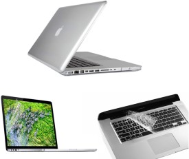 Pindia Transparent Crystal Finish Apple Retina Macbook Pro 15.4 inch Me665hn/A Me665ll/A Hard Case Shell Cover Keyboard Screen Guard Combo Set