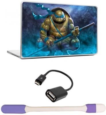 Skin Yard Purple Ninja Turtle Laptop Skin with USB LED Light & OTG Cable - 15.6 Inch Combo Set